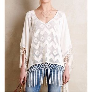 Anthropologie Fringe Crochet Poncho Beach Coverup